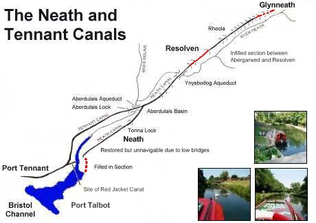 Map of the Neath and Tennant canals